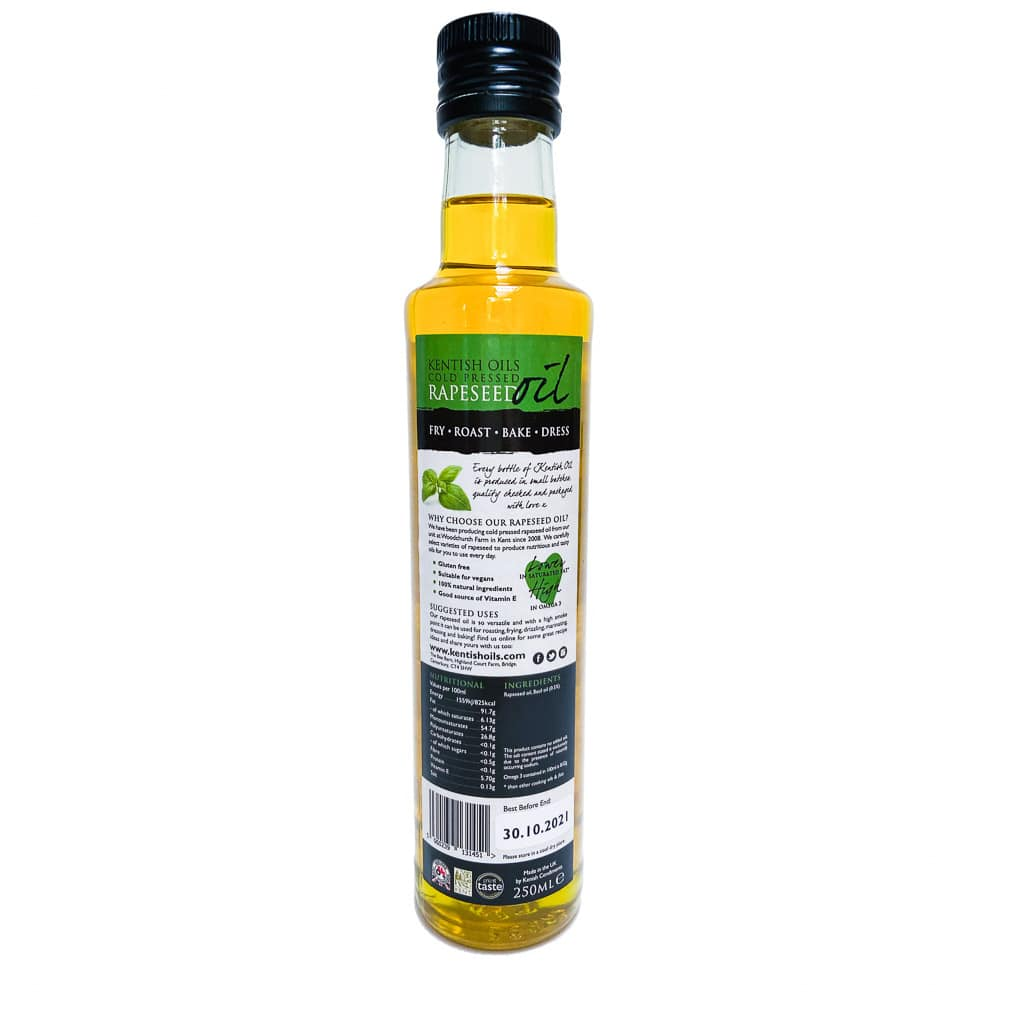 Kentish Oils Cold Pressed Rapeseed Oil Blended With Basil